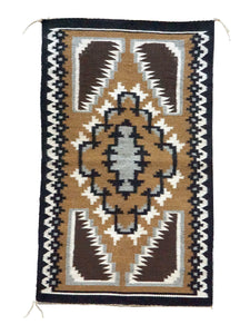 "Nora Silago, Two Grey Hills, Navajo Handwoven Rug, Single Diamond, 18"" x 30"""