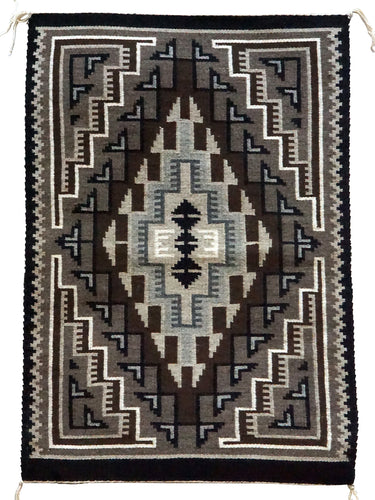 Rita Becker, Two Grey Hills, Navajo Handwoven Rug, Single Diamond, 19Ó x 28