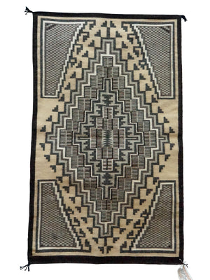 "Load image into Gallery viewer, Sadie Charlie, Two Grey Hills, Navajo Handwoven Rug, Single Diamond, 28"" x 46"""