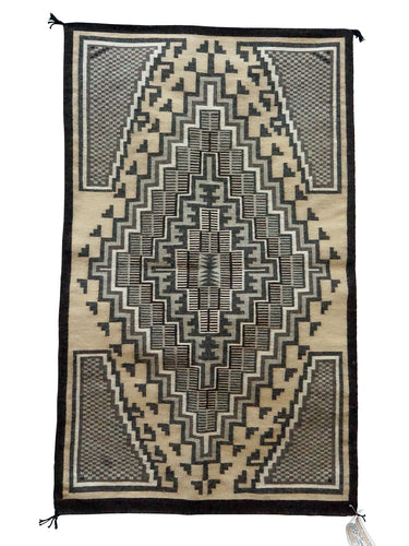 Sadie Charlie, Two Grey Hills, Navajo Handwoven Rug, Single Diamond, 28