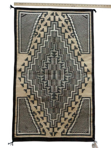 "Sadie Charlie, Two Grey Hills, Navajo Handwoven Rug, Single Diamond, 28"" x 46"""
