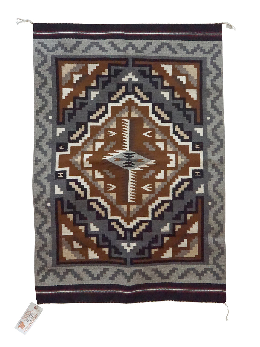 Susie Kee, Two Grey Hills, Navajo Handwoven Rug, Single Diamond, 46