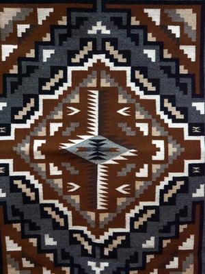 "Load image into Gallery viewer, Susie Kee, Two Grey Hills, Navajo Handwoven Rug, Single Diamond, 46"" x 30"""