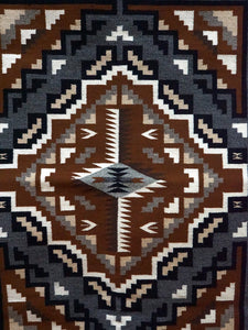 "Susie Kee, Two Grey Hills, Navajo Handwoven Rug, Single Diamond, 46"" x 30"""