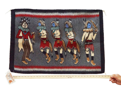 "Load image into Gallery viewer, Shirley Combs, Yei' Bi Chei Rug, Black, Gray, Red, Navajo Handwoven, 23"" x 32"""