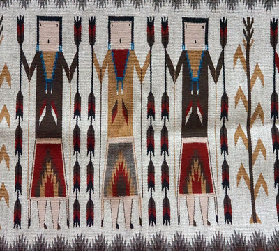 "Load image into Gallery viewer, Kathryn Begay, Yei' Rug, Navajo Handwoven, Red, Black, Gray, 45"" x 29"""