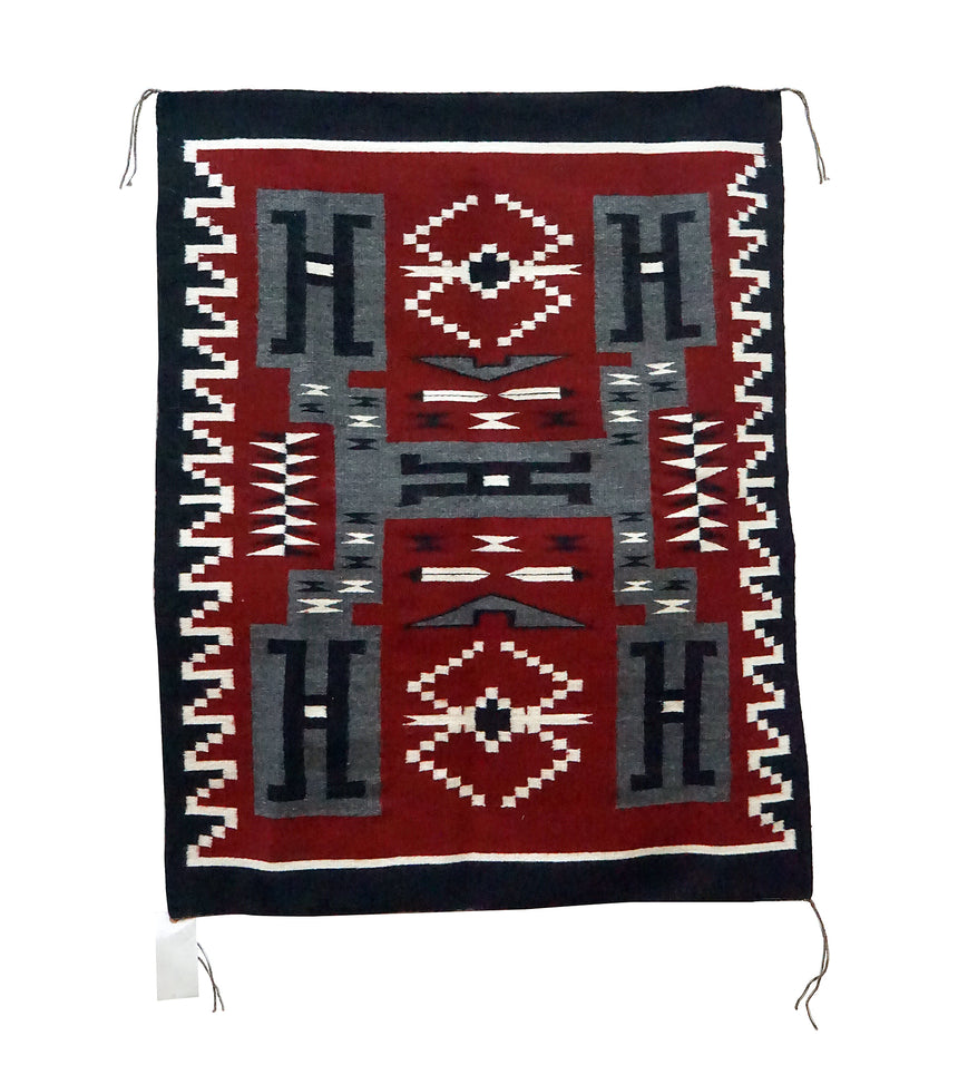 Anna Grey, Storm Pattern, Navajo Handwoven Rug, Ganado Red Colors, 37