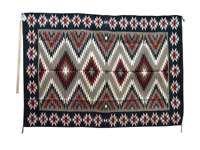 "Load image into Gallery viewer, Charlene Begay, Eye Dazzler, Navajo Rug, Black, Red, Gray, Handwoven, 81"" x 56"""