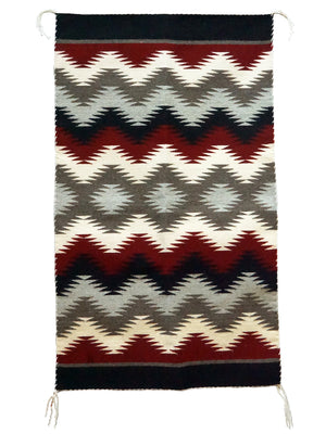 "Load image into Gallery viewer, Millie White, Eye Dazzler, Navajo Rug, Black, Red, Gray, Handwoven, 44"" x 26"""