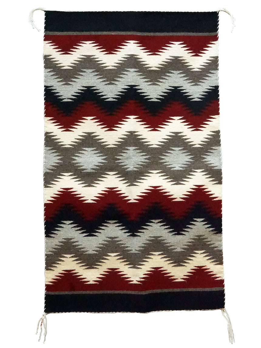 Millie White, Eye Dazzler, Navajo Rug, Black, Red, Gray, Handwoven, 41