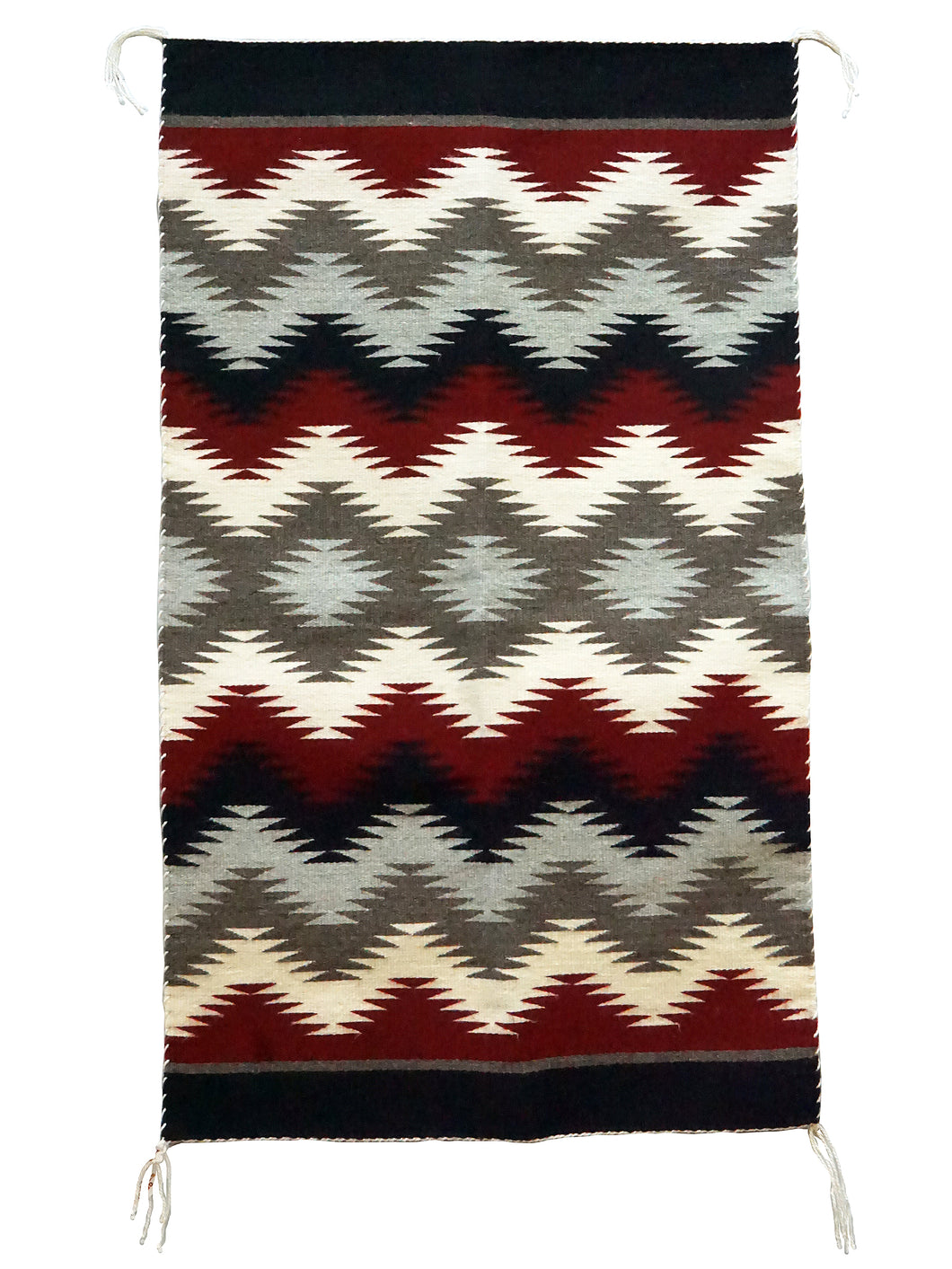 Millie White, Eye Dazzler, Navajo Rug, Black, Red, Gray, Handwoven, 44