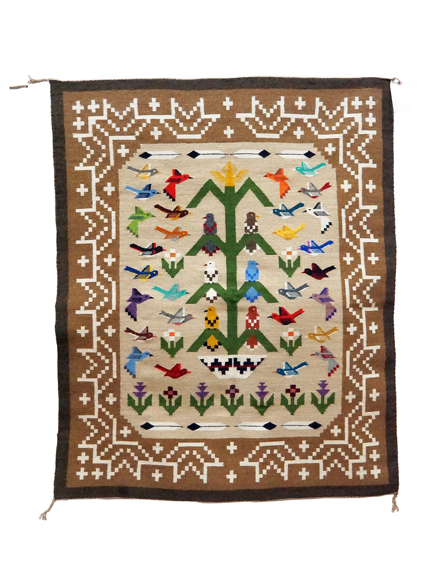 Marilyn Begay, Navajo Tree Of Life Rug, Thirty Three Birds, Handwoven, 41