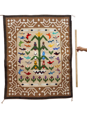 "Load image into Gallery viewer, Marilyn Begay, Navajo Tree Of Life Rug, Thirty Three Birds, Handwoven, 41"" x 51"""