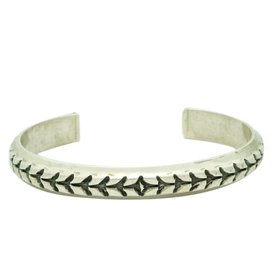 Load image into Gallery viewer, Derrick Gordon, Bracelet, Stamped, Narrow Design, Silver, Navajo Made, 7 1/4""