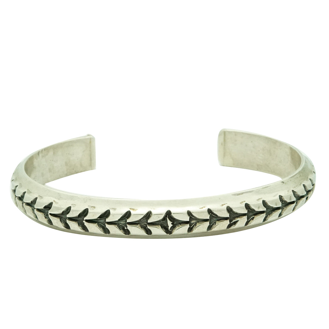 Derrick Gordon, Bracelet, Stamped, Narrow Design, Silver, Navajo Made, 7 1/4