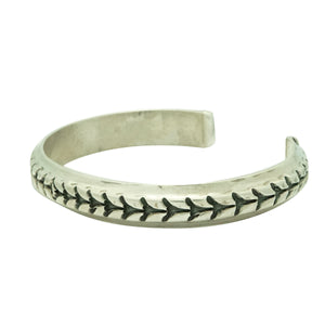 Derrick Gordon, Bracelet, Stamped, Narrow Design, Silver, Navajo Made, 7 1/4""