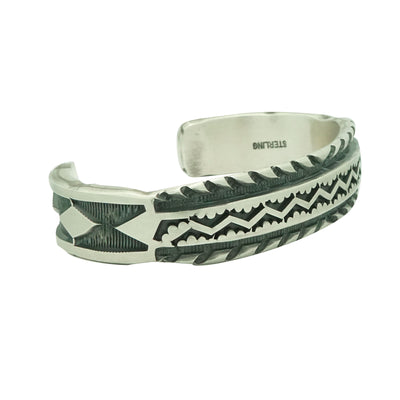 Load image into Gallery viewer, Jerrold Tahe, Bracelet, Sterling Silver, Stamped, Thick, Navajo Made, 7 3/8""