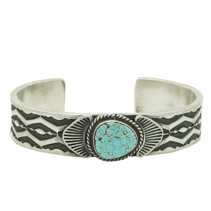 Andy Cadman, Bracelet, Number Eight Turquoise, Stamping, Navajo Handmade, 6 5/8