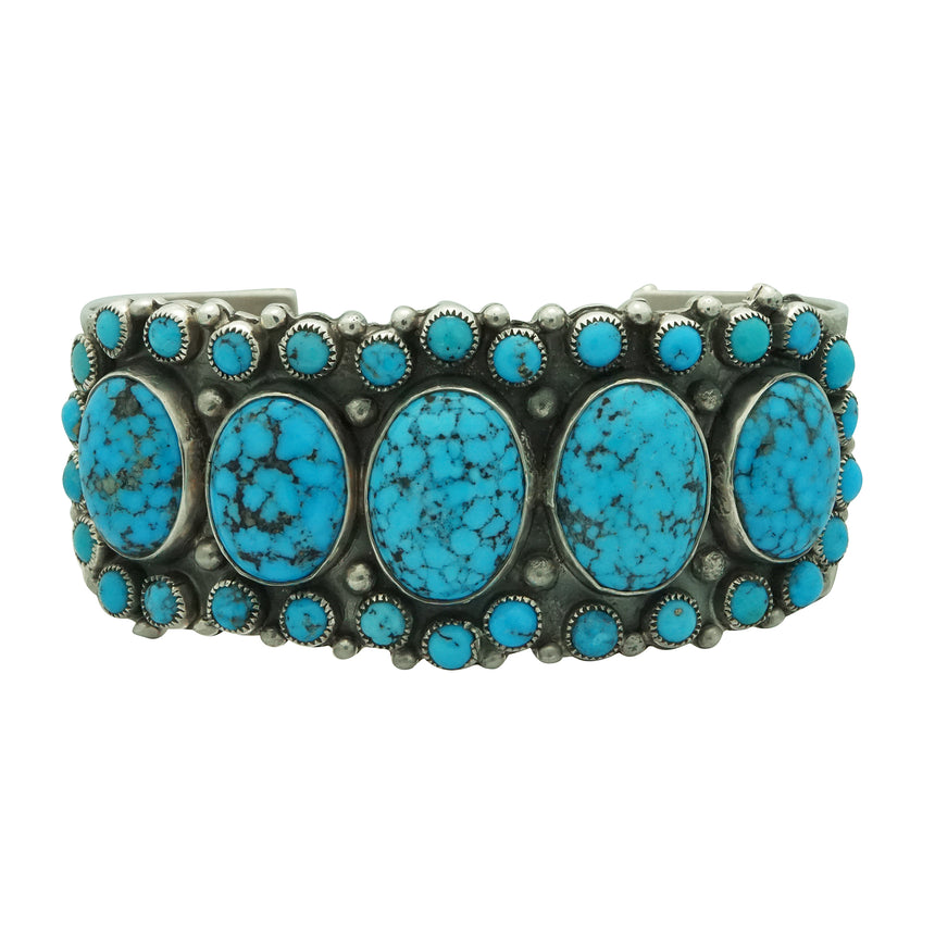 Dave Lister, Bracelet, Kingman Turquoise, Cluster, Silver, Navajo Made, 7 1/8