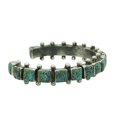 Load image into Gallery viewer, Ray Betsoi, Bracelet, 1 Row, Kingman Turqouise, 18 Stones, Navajo Made, 6 1/4""