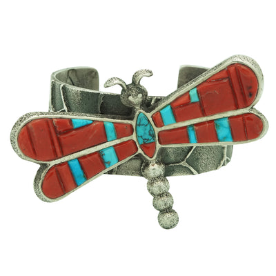 Load image into Gallery viewer, Lester James, Bracelet, Dragonfly, Turquoise, Coral, Navajo Handmade, 6 3/8""