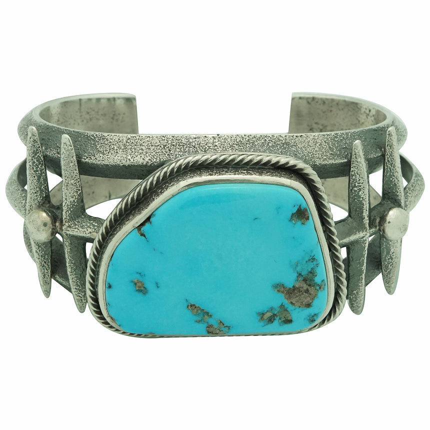 Roy Tracy, Bracelet, Castle Dome Turquoise, Dragonfly, Navajo Handmade, 7