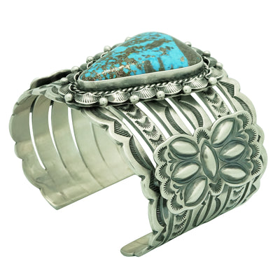 Load image into Gallery viewer, Randy Boyd, Bracelet, Morenci Turquoise, Sterling Silver, Navajo Handmade, 7""