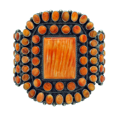 Load image into Gallery viewer, Anthony Skeets, Bracelet, Orange Spiny Oyster Shell, Navajo Handmade, 6 1/2""