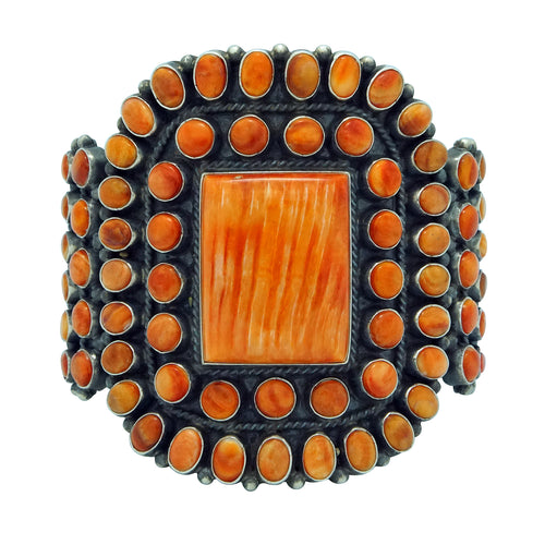 Anthony Skeets, Bracelet, Orange Spiny Oyster Shell, Navajo Handmade, 6 1/2