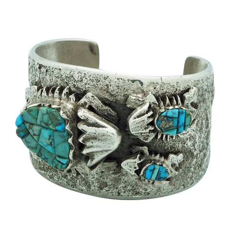 Philander Begay, Bracelet, Horned Toad Family, Turquoise, Navajo Made, 6 7/8