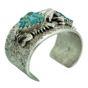 Philander Begay, Bracelet, Horned Toad Family, Turquoise, Navajo Made, 6 7/8""