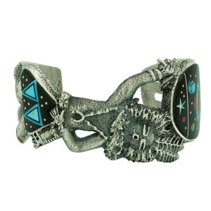 Lester James, Bracelet, Yei' be Chei', Night Sky Inlay, Tufa Cast, Navajo, 7""