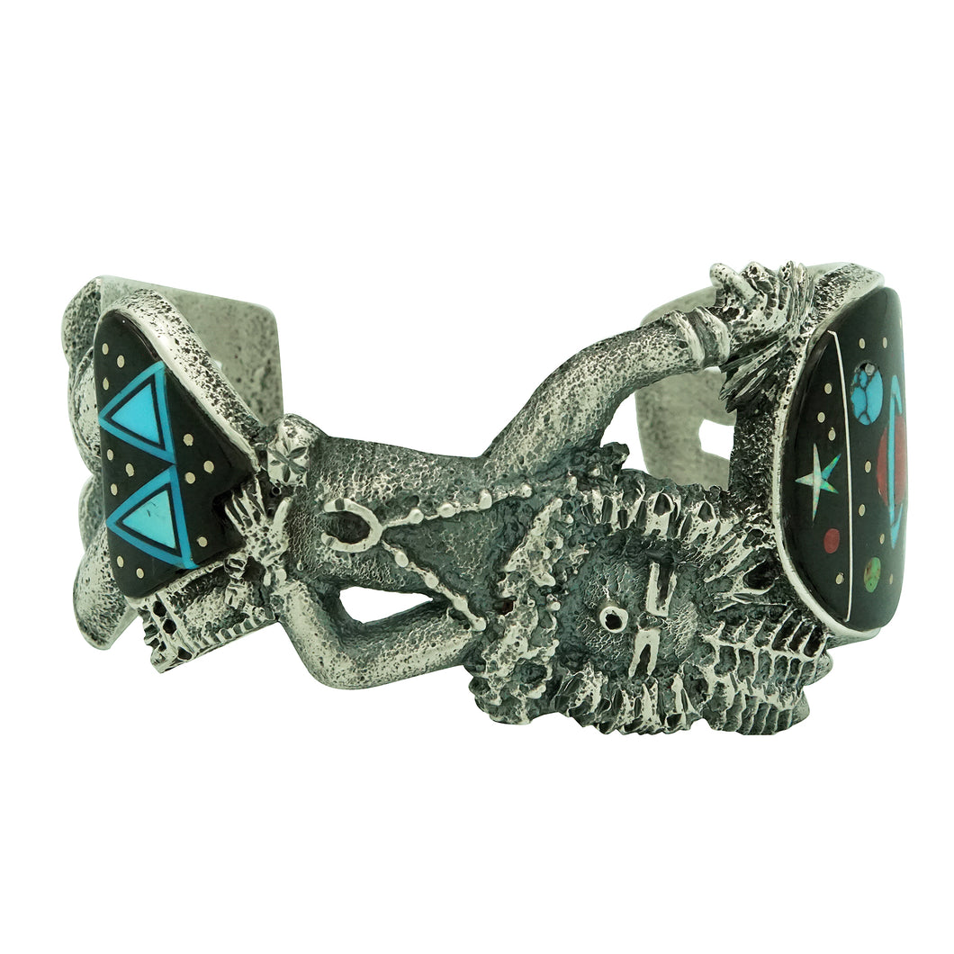 Lester James, Bracelet, Yei' be Chei', Night Sky Inlay, Tufa Cast, Navajo, 7