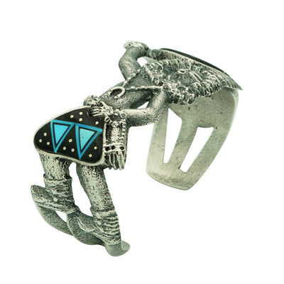 Load image into Gallery viewer, Lester James, Bracelet, Yei' be Chei', Night Sky Inlay, Tufa Cast, Navajo, 7""