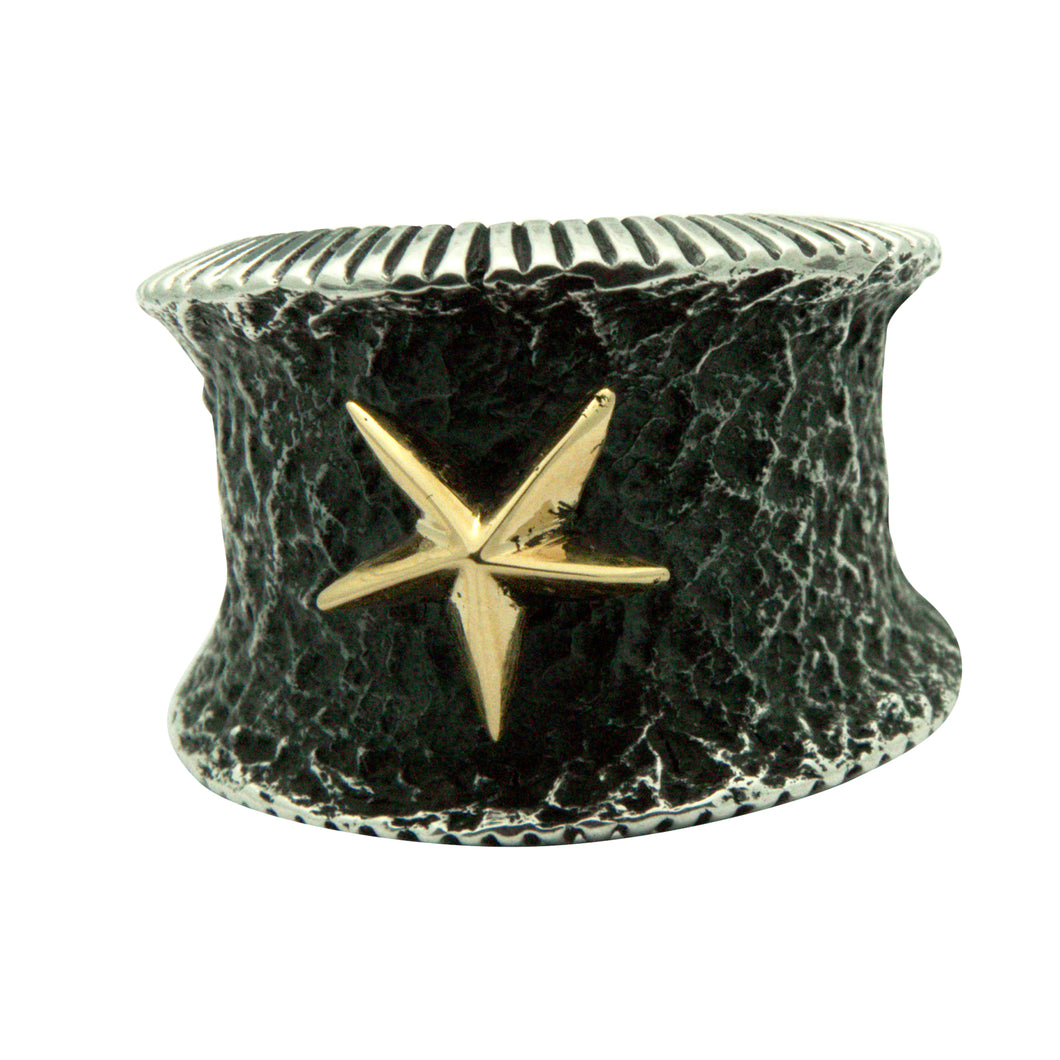 Aaron Anderson, Ring, 14k Gold, Silver, Five Pointed Star, Navajo, 10 ½