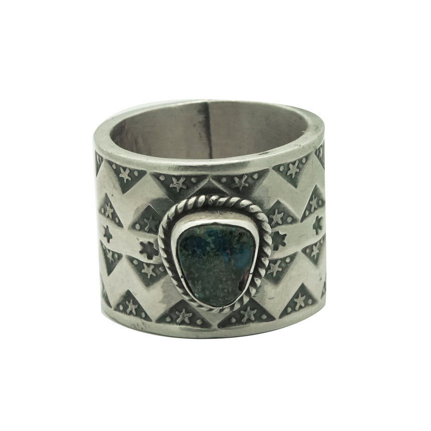 Bo Reeves, Ring, Red Mountain Turquoise, Wide, Silver, Navajo Handmade, 5 ½