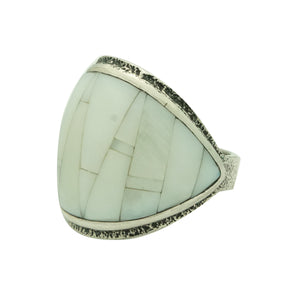 Lester James, Ring, Mother of Pearl, Tufa Cast, Carving, Navajo Handmade, 10