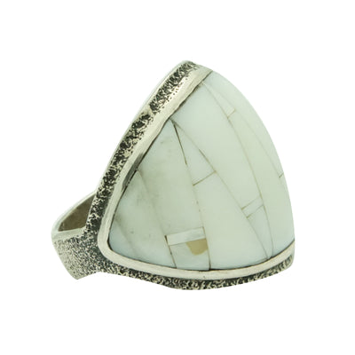 Load image into Gallery viewer, Lester James, Ring, Mother of Pearl, Tufa Cast, Carving, Navajo Handmade, 10