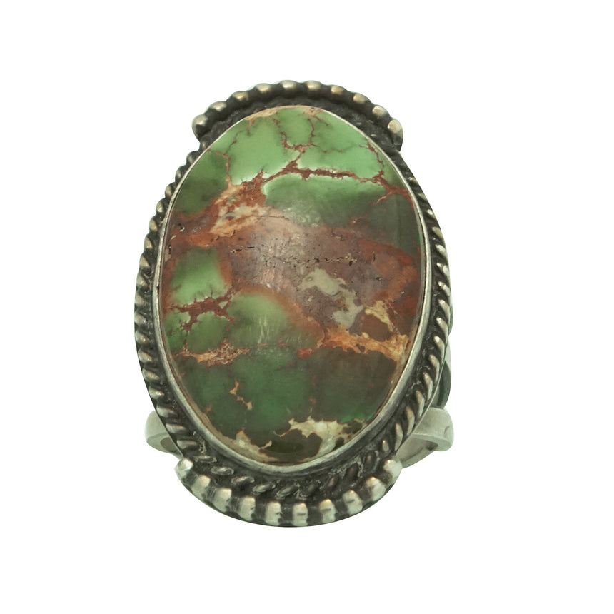 Herman Smith, Ring, Royston Turquoise, Navajo Revival Silver, Handmade, 11 ½