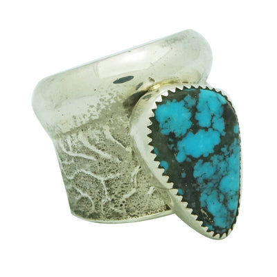 Load image into Gallery viewer, Cody Custer, Ring, Tufa Cast, Kingman Turquoise, Heavy, Navajo Handmade, 11