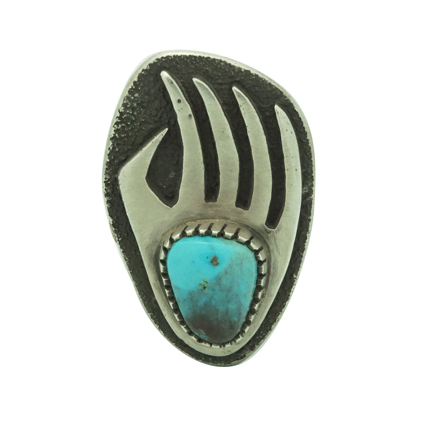 Tommy Jackson, Ring, Bearclaw, Bisbee Turquoise, Silver, Navajo Handmade, 9