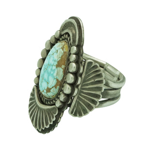 Tommy Jackson, Ring, Number Eight Turquoise, Old Style, Navajo Handmade, 9 ½