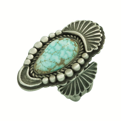 Load image into Gallery viewer, Tommy Jackson, Ring, Number Eight Turquoise, Old Style, Navajo Handmade, 9 ½