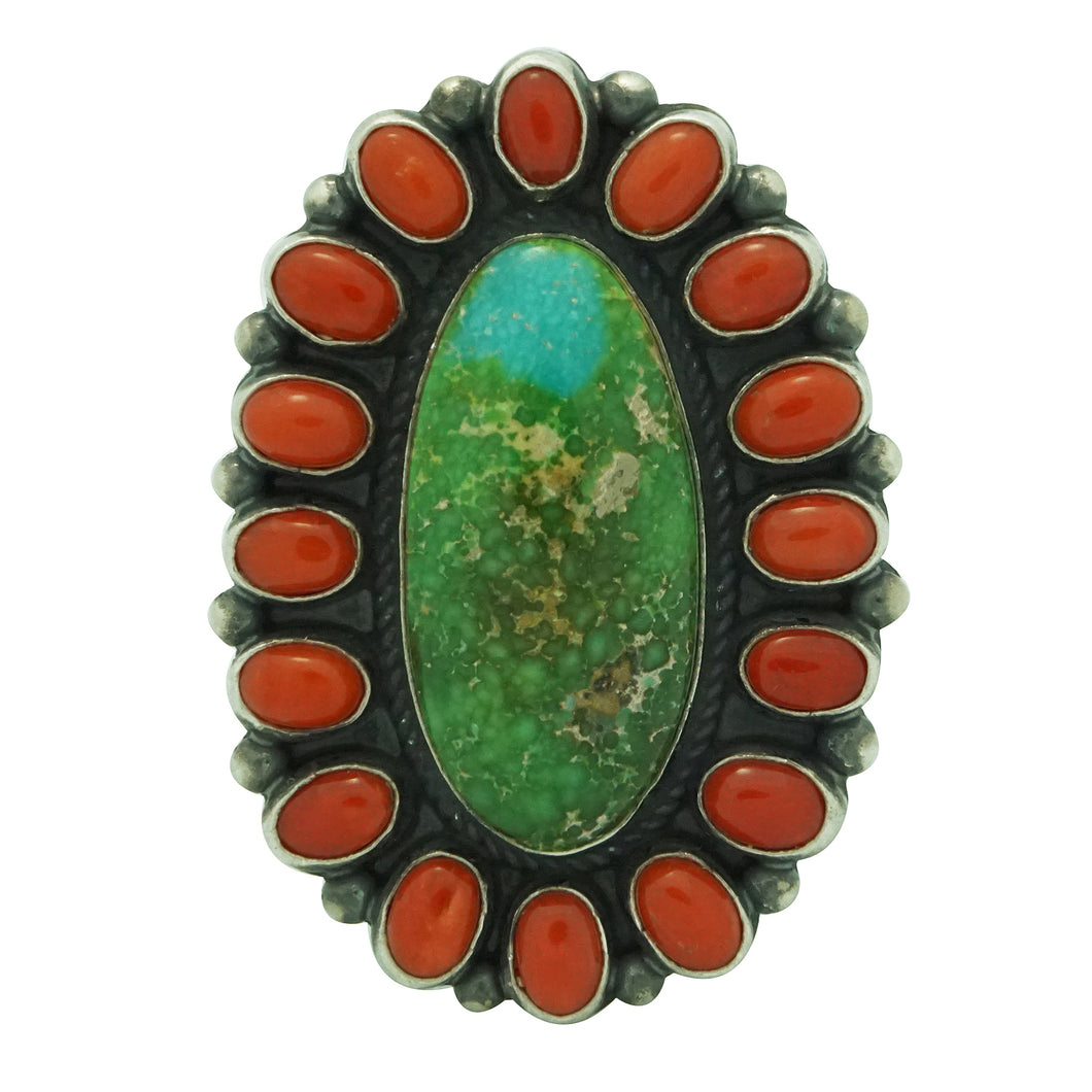 Andy Cadman, Ring, Sonoran Gold Turquoise, Mediterranean Coral, Navajo, 6 ½