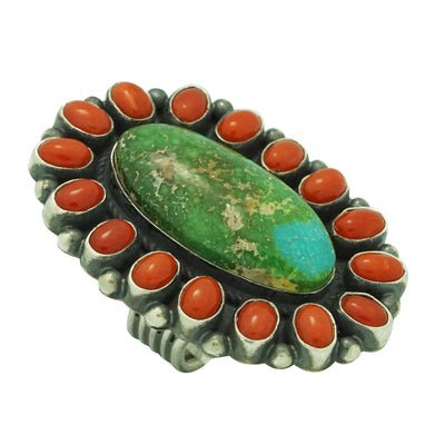 Load image into Gallery viewer, Andy Cadman, Ring, Sonoran Gold Turquoise, Mediterranean Coral, Navajo, 6 ½