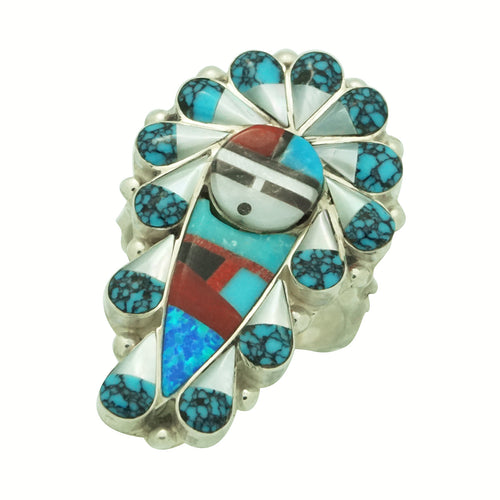 Stanford Gchachu, Ring, Sunface, Shell, Opal, Turquoise, Coral, Zuni Made, 8