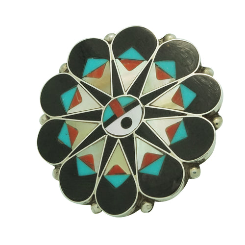 Delwin Gasper, Ring, Surface, Jet, Shell, Turquoise, Coral, Zuni Handmade, 9