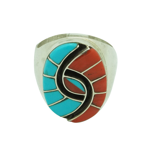 Amy Quandelacy, Ring, Mediterranean Coral, Sleeping Beauty Turquoise, Zuni, 10