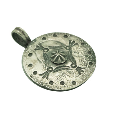 Load image into Gallery viewer, Bo Reeves, Coin Silver Pendant, Quarter, Stamping, Navajo Handmade, 1 3/8""