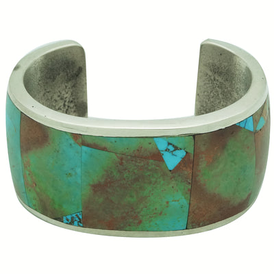 Load image into Gallery viewer, Lester James, Bracelet, Turquoise Mountain, Inlay, Tufa, Navajo Handmade, 6 5/8""